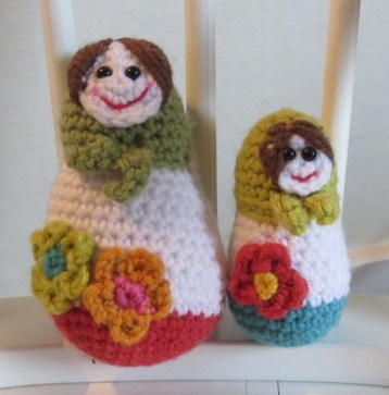 Crocheted Matroyshka dolls.