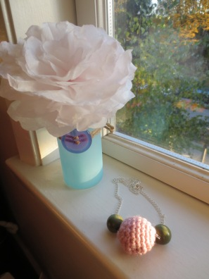 Wood and wool necklace. And a flower made out of coffee filters, just because I can.