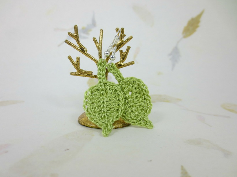 Crochet leaf earrings. Just like the title says.