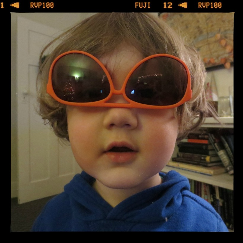 """Wandering into the kitchen, Thomas asks """"Hey, does anyone like my glasses?"""" Note: only he and I were present."""