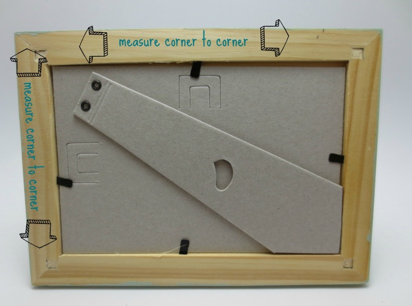 This frame was 7.5 inches by 5.5 inches so I cut a peice of fabric that was 6 3/4 inches by 4 3/4 inches.