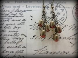 Bronze and carnelian dangle earrings