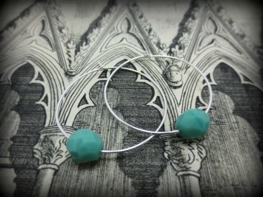 Silver hoops with turquoise glass
