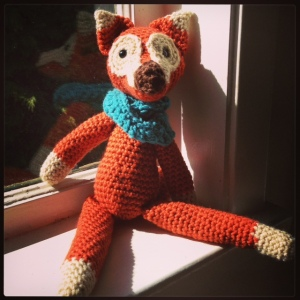 The hipster fox, complete with an infinity cowl as they`re all the rage.