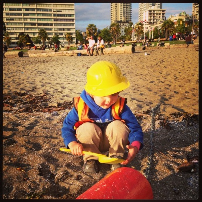 Just doing some beach construction